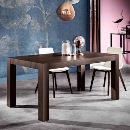 Extendable dining table in melamine wood made in Italy, Oky