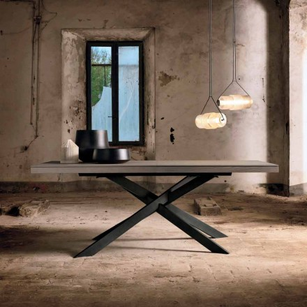 Extendable dining table in oak wood L315 cm made in Italy, Oncino