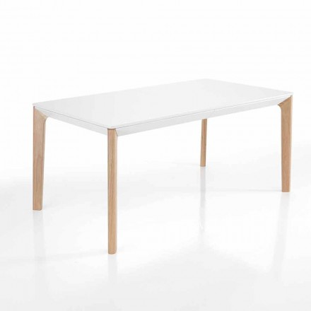 Modern extendable dining table in white Mdf – Fausto