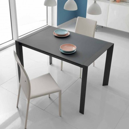 Extendable dining table in Oddo glass and metal