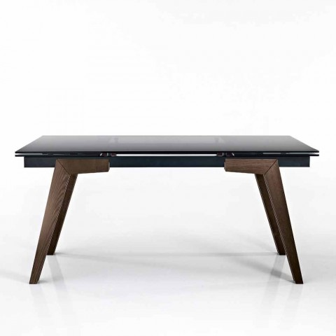 Tavolo Cristallo In Vetro.Extendable Table In Fume Glass And Solid Wood Made In Italy Dimitri