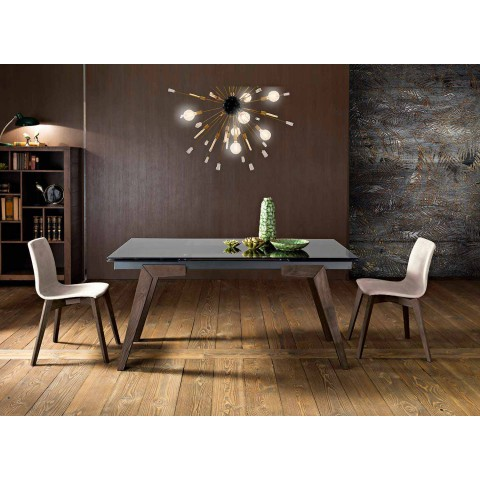 Extendable Table In Fume Glass And Solid Wood Made In Italy Dimitri