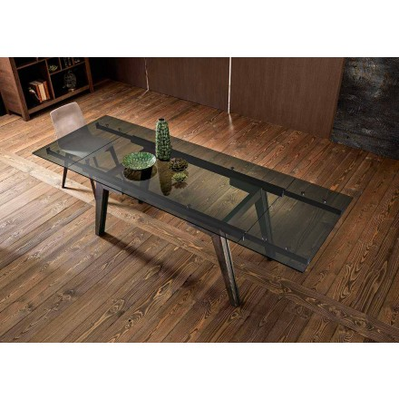 Extendable dining table in fumè glass made in Italy, Dimitri
