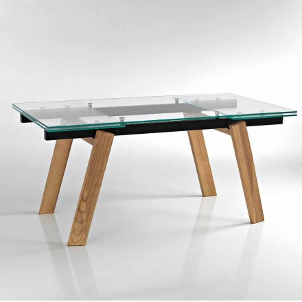 Modern extendable dining table in glass made in Italy, Azad