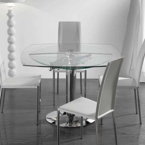 Tavoli Allungabili Vetro Temperato.Transparent Tempered Glass Extendable Dining Table Onda