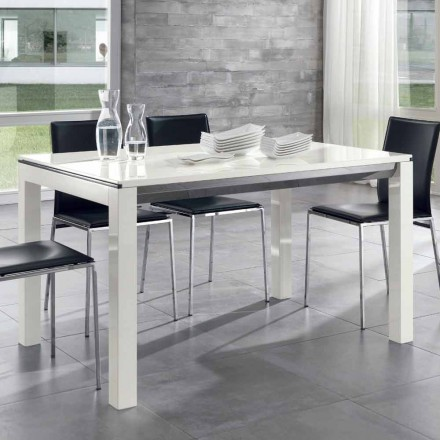 Extendable Dining Table Tanganika Walnut Wood Glossy White Lacquered - Ketla