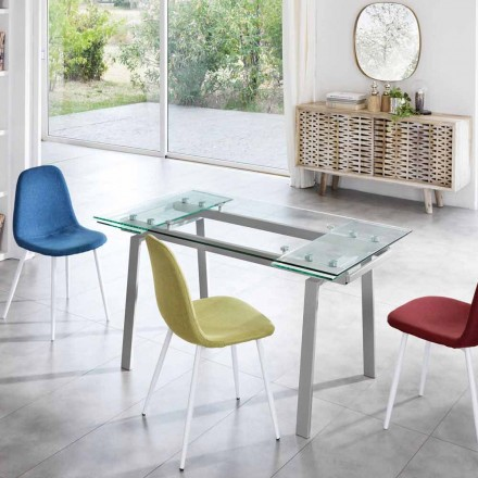 Extendable dining table made of glass, L 140/200x P 80 cm - Nardo