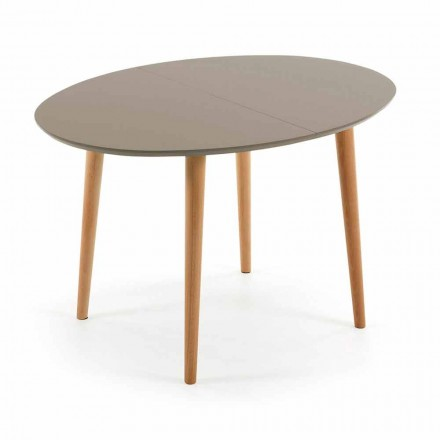 Extendable wooden table, oval shape Ian