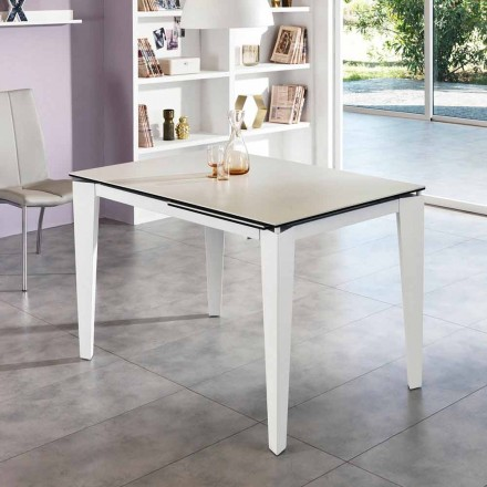 Extendable dining table 120/170xP80 made of glass-ceramic - Bino