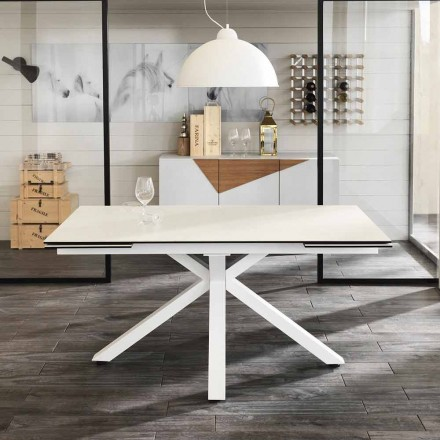 Extendable dining table made of glass-ceramic, L160/240 P90 cm - Bacco