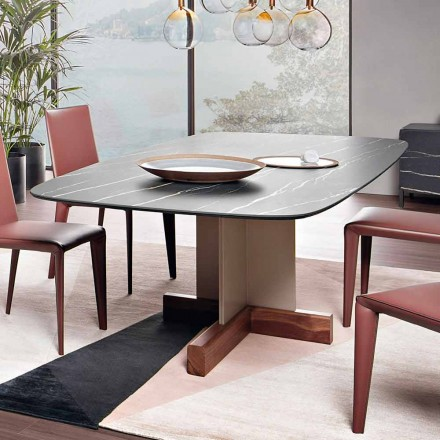 Dining Table with Ceramic Top Made in Italy - Bonaldo Cross Table