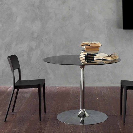 Dining Table with Crystal Top and Chromed Base Made in Italy - Tallio