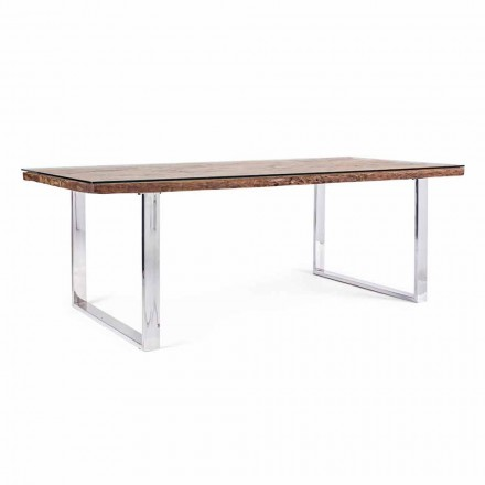 Homemotion Dining Table with Wood and Tempered Glass Top - Blanco