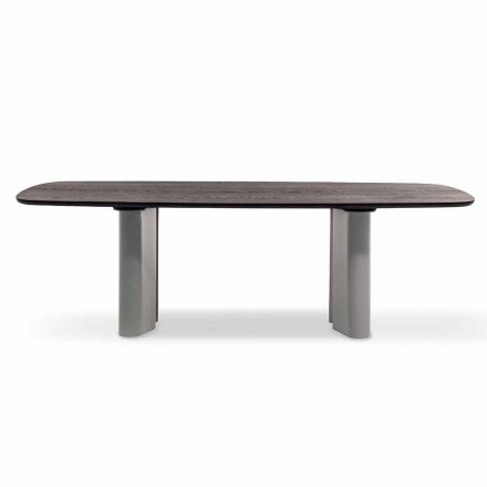 Dining Table with Wooden Top Made in Italy - Bonaldo Geometric Table