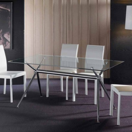 Modern dining table Thor, with transparent tempered glass top