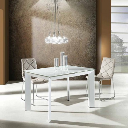 White extendable dining table made of tempered glass and metal Zeno