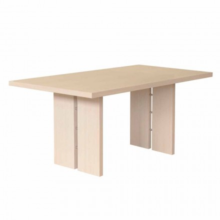 Dining table with natural bleached oak top, made in Italy, Nelso