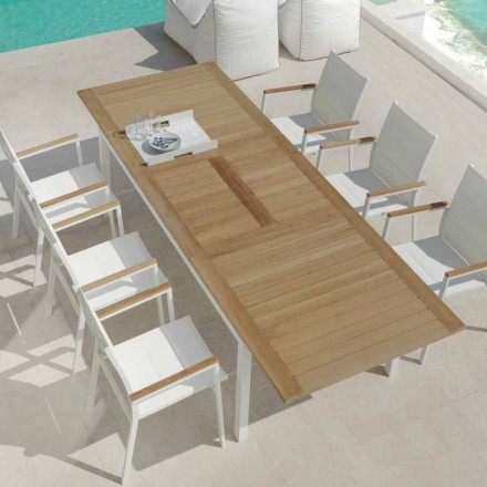 Extendable garden dining table in Timber teak wood