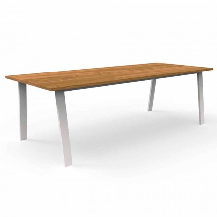Garden Dining Table in Iroko Wood and Aluminum - Cottage by Talenti