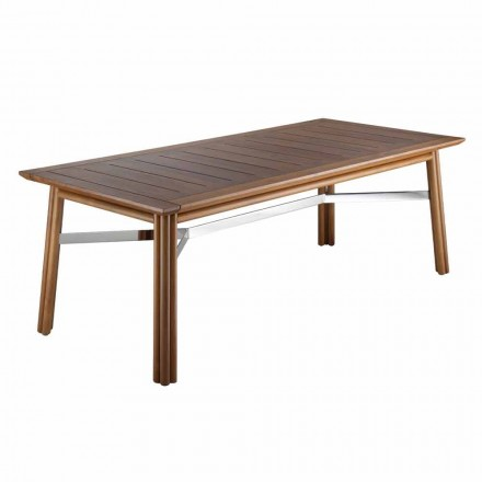 Garden Dining Table in Natural or Black Wood, Italian Luxury - Suzana