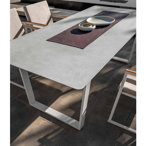 Aluminum and Gres Modern Garden Dining Table - Alabama Alu Talenti