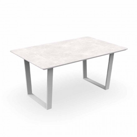 Modern Garden Dining Table in Aluminum and Gres - Alabama Alu Talenti