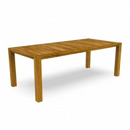 Modern Garden Dining Table in Chestnut Wood - Ebi by Talenti