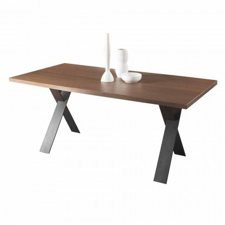 Design Dining Table with Oak or Walnut Wood Top Made in Italy - Lucas