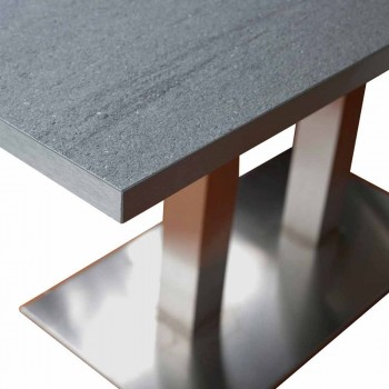 Design dining table with laminated stone top, 160x90cm, Newman