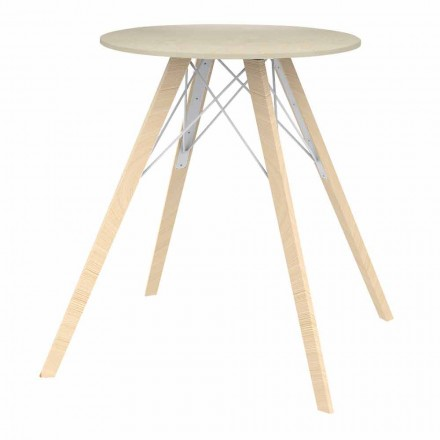 Round Design Dining Table in Wood and Dekton 4 Pieces - Faz Wood by Vondom