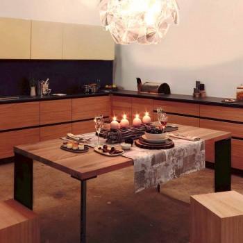 Design dining table in natural walnut design, L200xP100cm, Yvonne