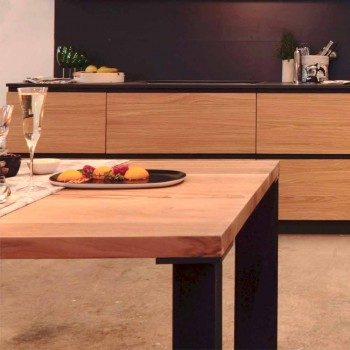 Design dining table in natural walnut design, L200xP100cm, Yvonne