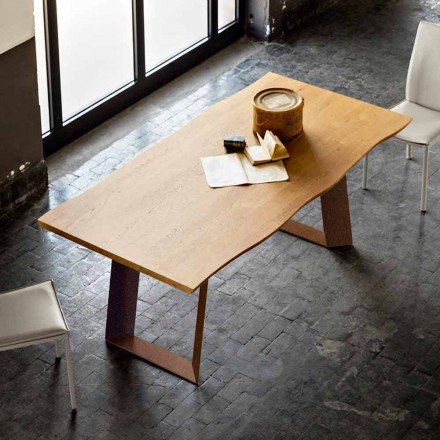 Modern design dining table made of wood and metal Flora 100x200 cm
