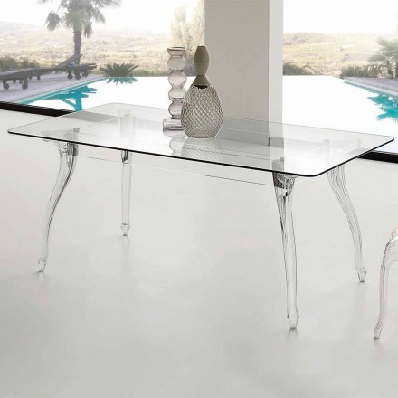 Modern design dining table with tempered glass top Jinny