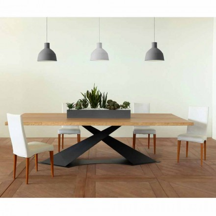 Modern design dining table with Elliot made in Italy oak top