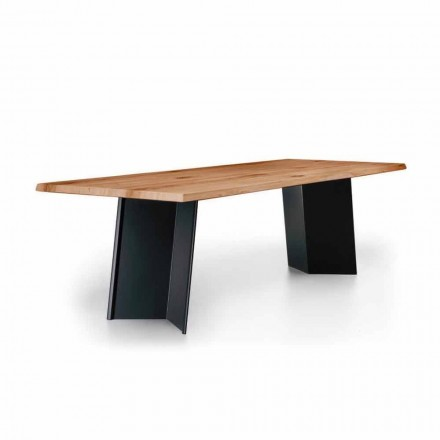 Design Dining Table with Knotted Oak Top Made in Italy - Simeone