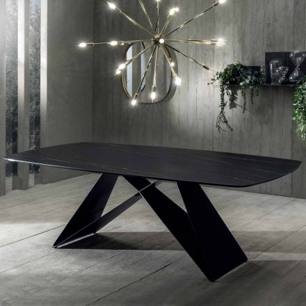Dining Table of Design in Portoro Effect Ceramic and Matt Metal - Falcon