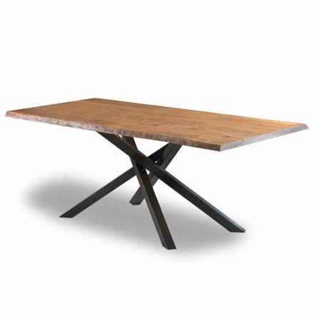 Design Dining Table in Wood with Steel Base Made in Italy - Licis