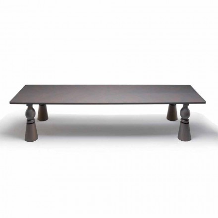 Luxury design coffee table Teseo in grey oak, made in Italy