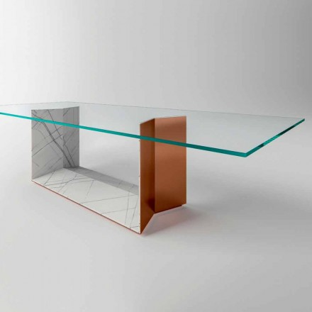 Glass Dining Table with Metal and Marble Base Made in Italy - Minera