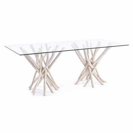 Design Dining Table in Glass and Bleached Teak Homemotion - France