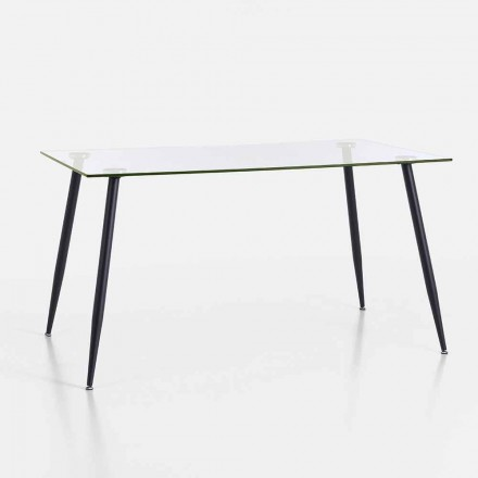 Modern Design Dining Table in Tempered Glass and Black Metal - Foulard