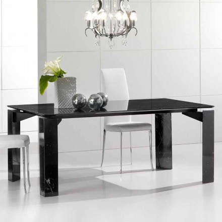 Black marble dining table, modern design, 200x100 cm Placido