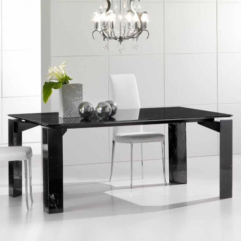 Fixed marble dining table with Placido suspended top