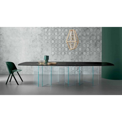Ceramic Dining Table and Extralight Glass Base Made in Italy - Random