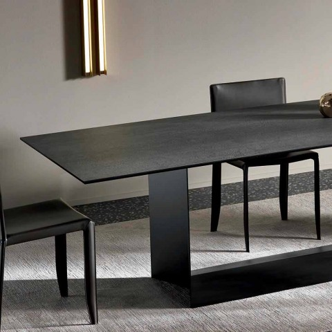 Anthracite Savoy Stone Ceramic Dining Table Made in Italy - Dark Brown