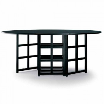 Black Painted Ash Dining Table Made in Italy - Sabatino