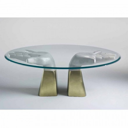 Wooden dining table Bartolo with glass top, modern Italian design