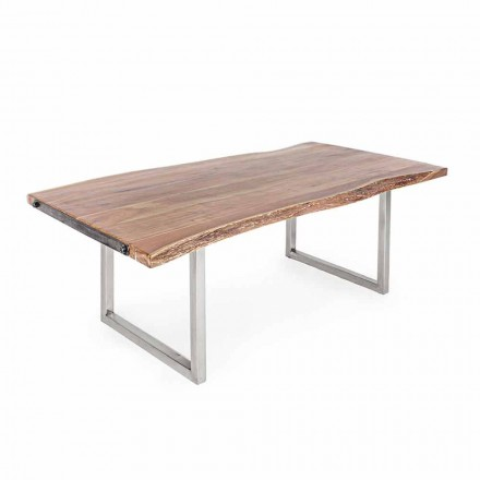 Homemotion Dining Table in Acacia Wood and Stainless Steel - Convo