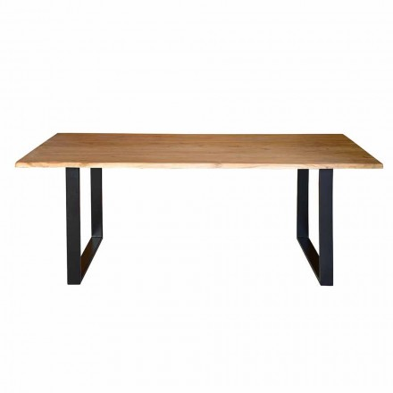 Dining Table in Acacia Wood and Metal Legs Ethnic Design - Cleopatra